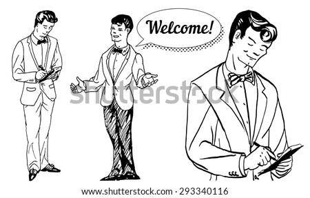 vector illustration sketch waiters take orders and welcomes guests on a white background - stock vector