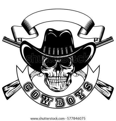 vector illustration skull cowboy hat crossed stock vector