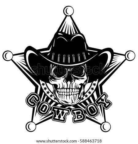 vector illustration skull cowboy hat on stock vector 588463718