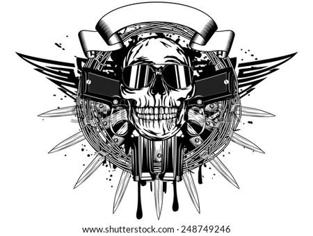 Vector illustration skull in sunglasses and two pistols - stock vector