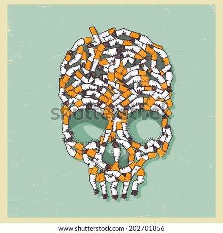 vector illustration skull made with fag end - stock vector