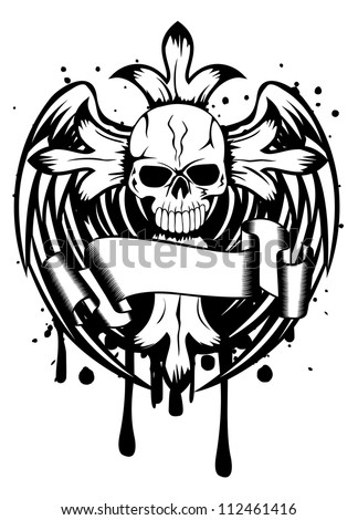 Vector illustration skull with cross and wings - stock vector