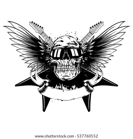 Vector illustration skull with sunglasses and crossed guitars on wings and grunge background. Design rock and roll sign for t-shirt or poster print