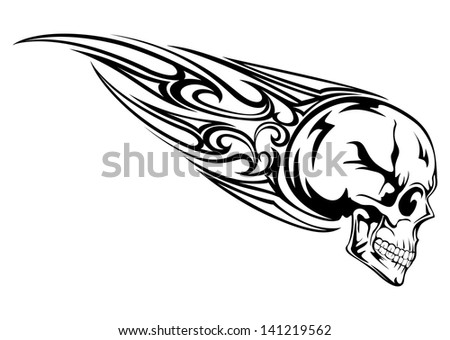 Vector illustration skull with tribal - stock vector