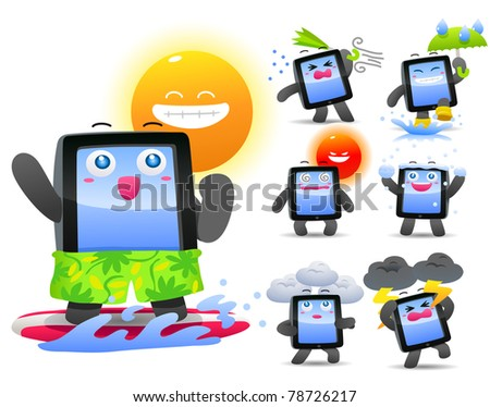 Vector illustration, smart phone, pad, Weather, Meteorology - stock vector