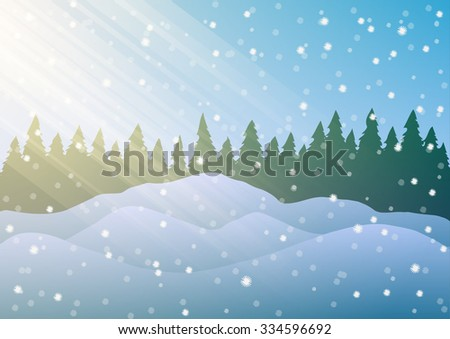 Vector illustration. Snowdrifts on the background of trees and falling snow.