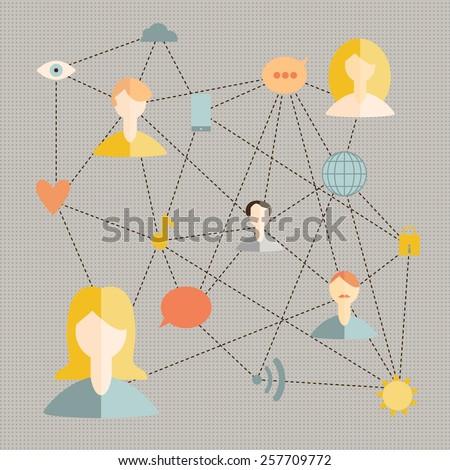 vector illustration social networks - stock vector