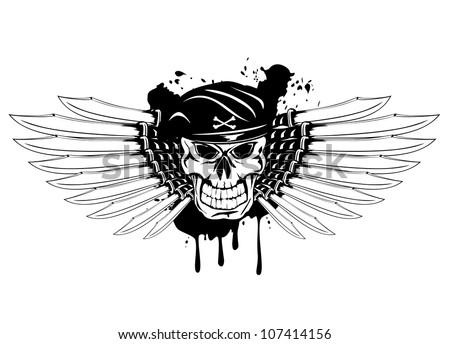 Vector illustration soldier skull in beret and daggers - stock vector