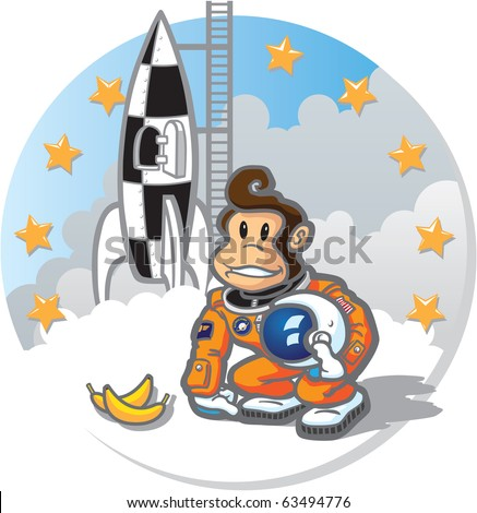 Vector Illustration Space Monkey Vector illustration of an intrepid simian astronaut, exploring the heavens for all mankind! Easy to edit layers included. - stock vector