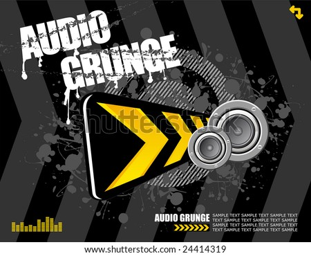 vector illustration - speakers and diversion sign on black grunge background ready for your own text - stock vector