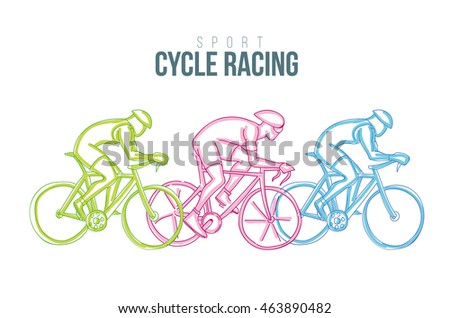 vector illustration sports games. graphic sport cycle race. design sports booklets flyers. sports hand-drawn cycling doodles sport