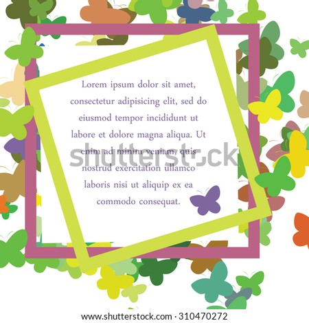 Vector illustration. Spring background of multicolored butterflies. Frame, place for your text or congratulations. - stock vector