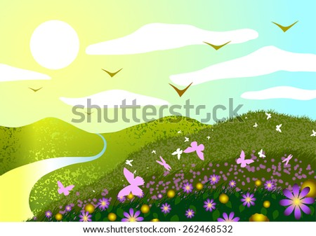 Vector illustration. Spring landscape. Field, flowers, butterflies, sunset and river. - stock vector