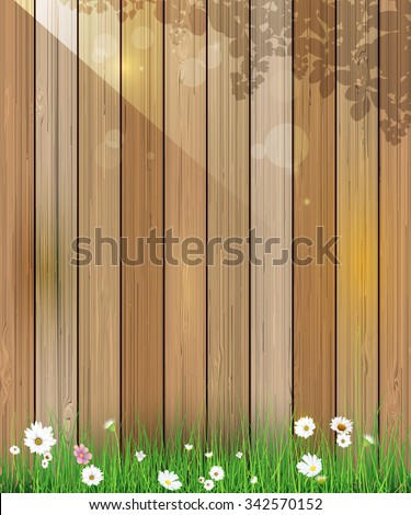 Vector illustration Spring nature background. Green grass and leaf plant, White Gerbera, Daisy flowers and sunlight over wood fence with bokeh effect. Blank space for content or your design - stock vector