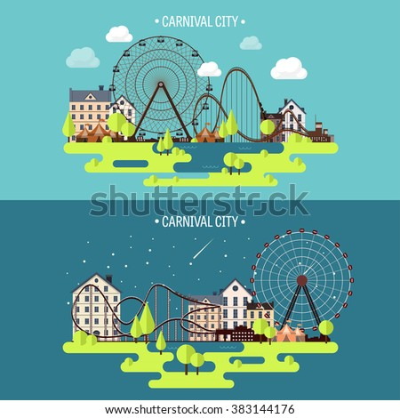 Vector illustration.Spring, summer. Ferris wheel. Carnival. Funfair background. Circus park.  Skyscrapers with roller coaster. - stock vector