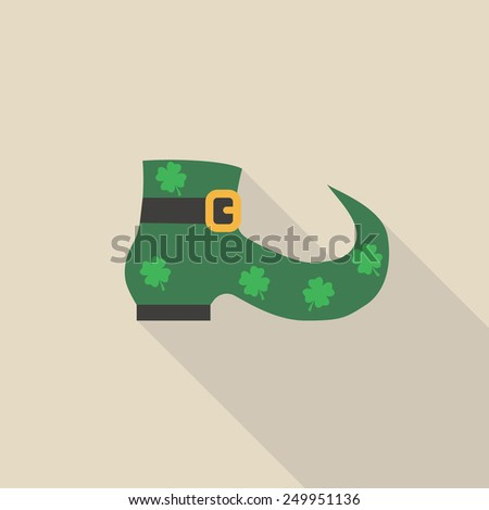 vector  illustration St. Patricks Day icon of a symbolic green boot beloniging to a leprechaun, - stock vector
