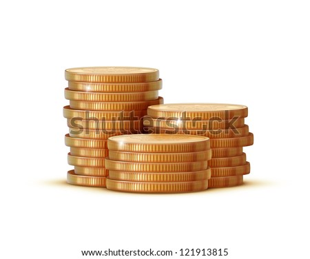 Vector illustration stacks of golden coins isolated on a white background.