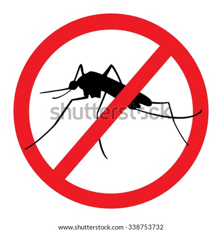 Vector illustration stop mosquito, malaria sign for spray insecticide - stock vector
