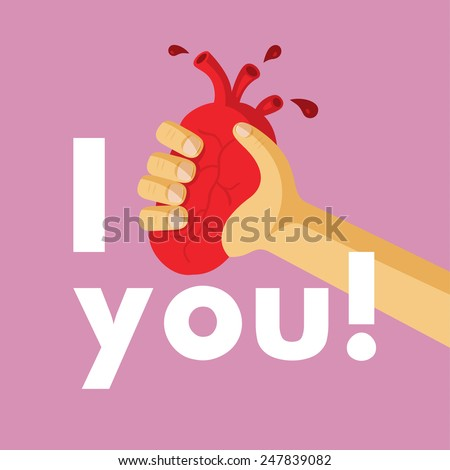 Vector illustration style flat. Unusual creative valentine card. Original declaration of love. Heart is in an arm. - stock vector