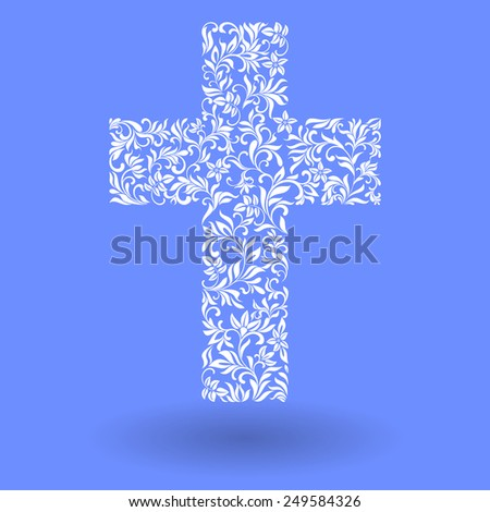 Vector Illustration:  Stylish Christian Cross  - stock vector