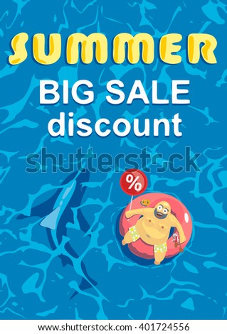 Vector illustration. Summer big discount. Shark revolves around a fat man on a mattress for swimming. Summertime and holiday shopping. Big sales. Blue sea - stock vector