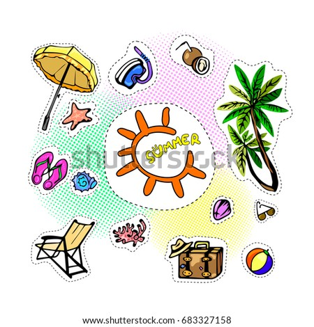 Vector Illustration Summer Holidays There Is Drawing Sticker Set Of Elements