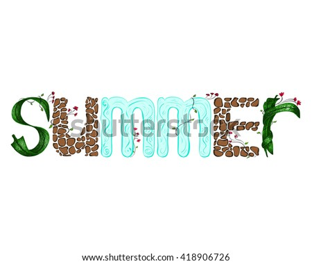 Vector illustration. Summer laid out letters from the leaves, stones and water - stock vector
