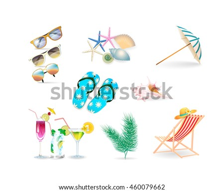 vector illustration summer objects collections:slippers, umbrella, cocktails, palm leaves, shells and starfish, sunglasses, hat on white background