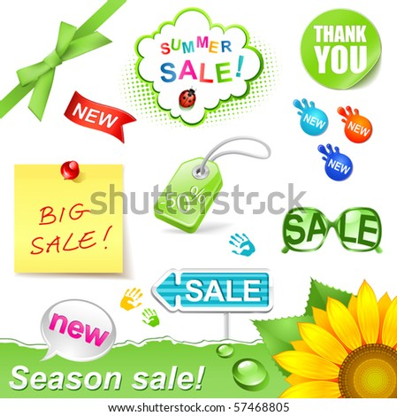 vector illustration summer sale set - stock vector