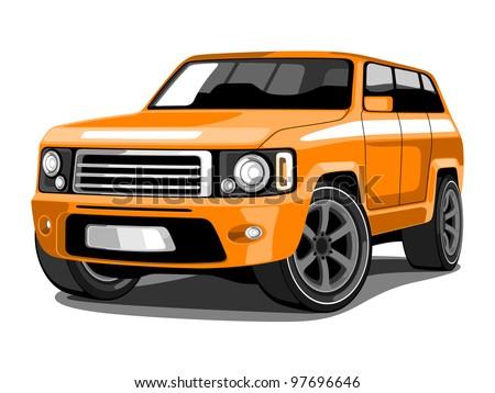 Vector illustration SUV or Sport Utility Vehicle  in Orange Color - stock vector