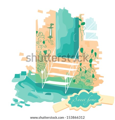 Vector illustration. sweet home. Stairs leading to the door. The building is in the colors. Porch. - stock vector