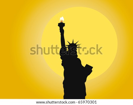 Vector, illustration, symbol of the Statue of Liberty against the sunny sky
