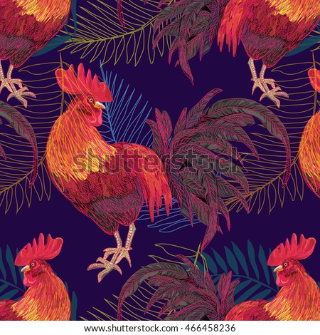 vector illustration symbol of the year 2017 on the Chinese calendar - fire cock. stylish, trendy, red rooster. Happy New Year