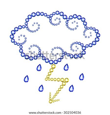 Vector illustration: symbolic icon Storm with Lighting for weather report made of blue and yellow crystals isolated on white background - stock vector