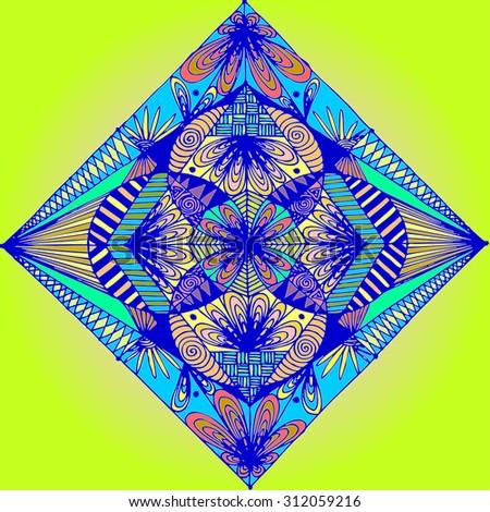 Vector illustration, symmetry in vivid colours, card concept. - stock vector