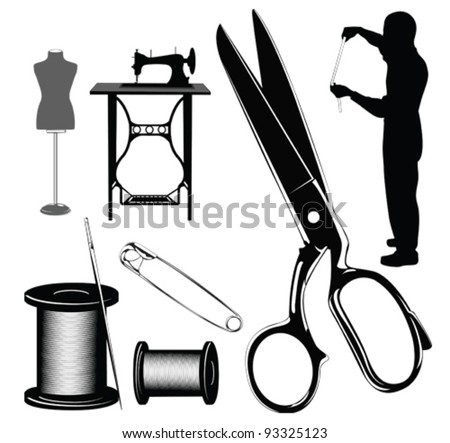 Vector illustration.Tailor's objects and equipment  silhouettes - stock vector