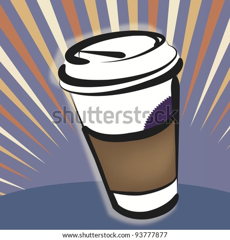 Vector Illustration - Take-out Coffee Cup:  to-go beverage is celebrated in this design. - stock vector