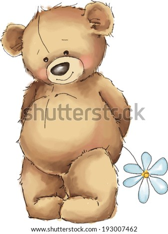 Vector illustration. Teddy bear with white flower. - stock vector