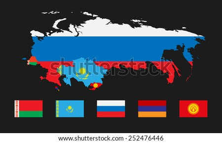 Vector illustration. Template for infographics. Schematic map of the member states of the Eurasian Economic Union. Flags Belarus, Kazakhstan, Russia, Armenia and joining Kyrgyzstan.  - stock vector