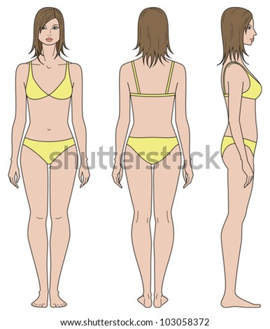 Vector illustration. Template of woman's figure. Front, back, side views - stock vector
