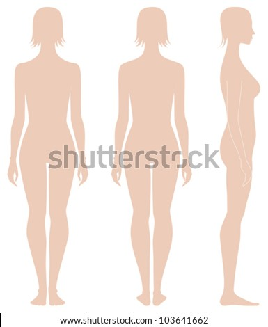 Vector illustration. Template of woman's figure. Front, back, side views. Silhouettes - stock vector