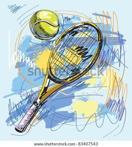 Vector illustration - Tennis racket and ball - stock vector