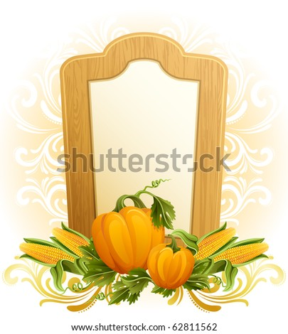 Vector illustration - thanksgiving background with pumpkins and corn - stock vector