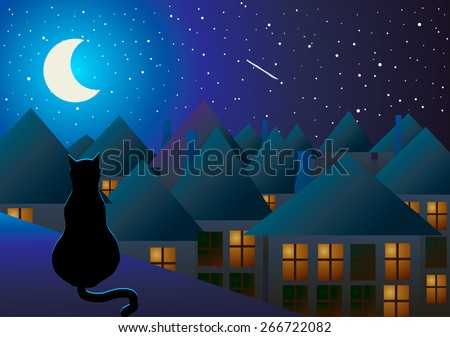 Vector illustration. The cat sits on the roof and watching the city at night and the moon. - stock vector