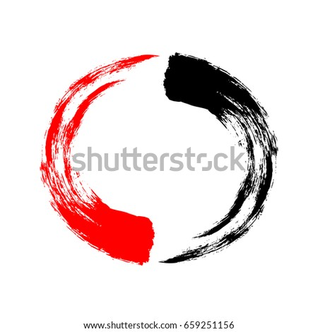 Vector illustration. The circle is painted in black and red brush strokes