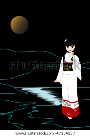 Vector illustration. The girl in a white kimono. - stock vector