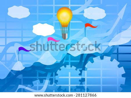 Vector Illustration. The idea and implementation. Lamp, growth chart, gear and mountains with a flag. - stock vector