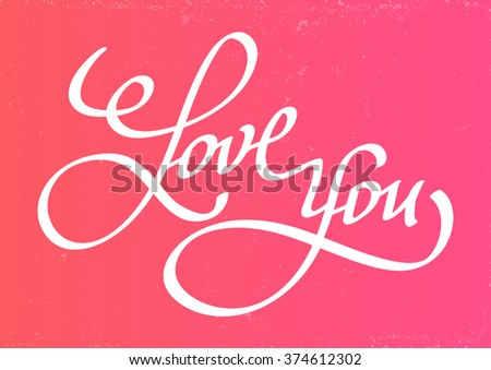 Vector illustration. The inscription I love you hand calligraphy on a pink background - stock vector