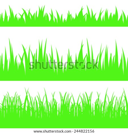 Vector illustration the set of seamless the grass. - stock vector