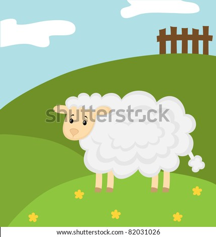 Vector illustration. The white sheep walks on a flower meadow - stock vector